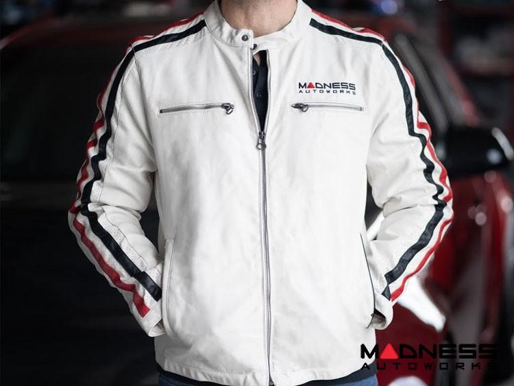 Leather Jacket - MADNESS Autoworks - White - Medium