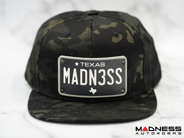 Cap - Snapback Style - Camo Design - w/ Texas Black Plate + MADN3SS