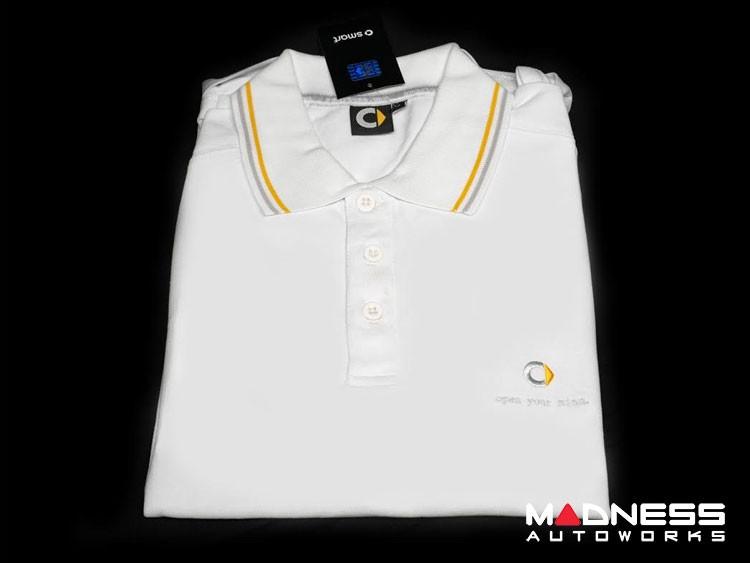 smart fortwo Men's White Polo w/ smart Silhouette