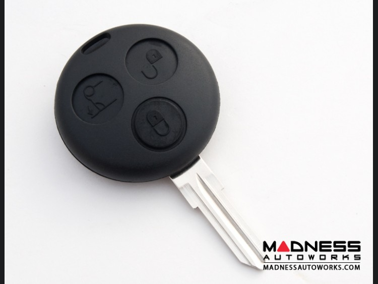 smart fortwo Keyfob Replacement Part - Black Key + Case - 450 Model - 3 button