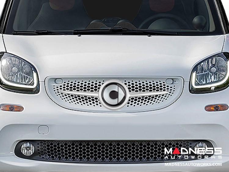 smart fortwo Front Grill Trim - 453 model - w/ smart Emblem - Moon White