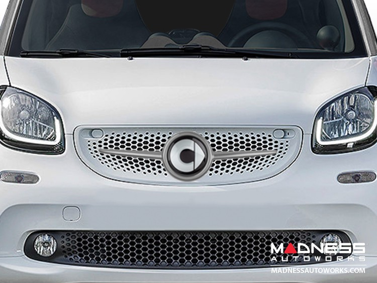 smart fortwo Front Grill Trim - 453 model - w/ smart Emblem - Titania Grey
