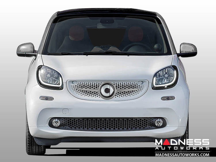 smart fortwo Front Grill Trim - 453 model - w/ smart Emblem - Titania Grey