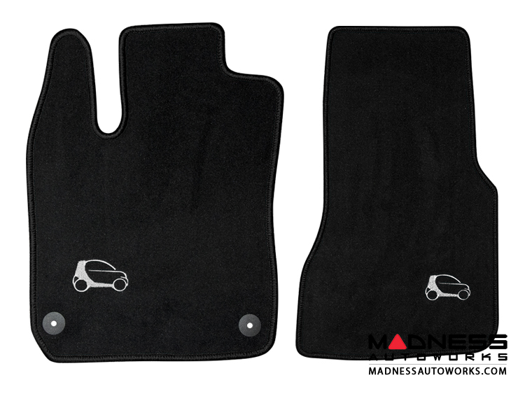 smart fortwo Custom Floor Mats - 453 model - LUXUS - Black Binding w/ smart silhouette