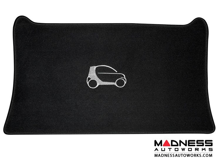 smart fortwo Custom Floor Mats + Cargo Area Mat - 453 model - LUXUS - Black Binding w/ smart silhouette