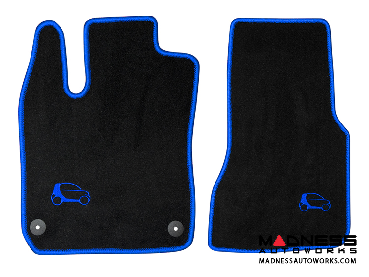 Smart Fortwo Floor Mats - 453 model - Blue Binding w/ smart silhouette