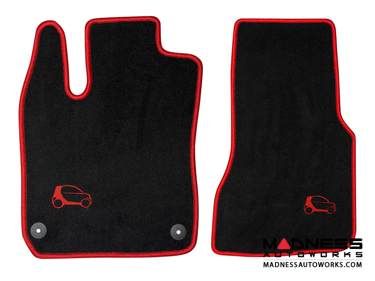smart fortwo Custom Floor Mats - 453 model - LUXUS - Red Binding w/ smart silhouette