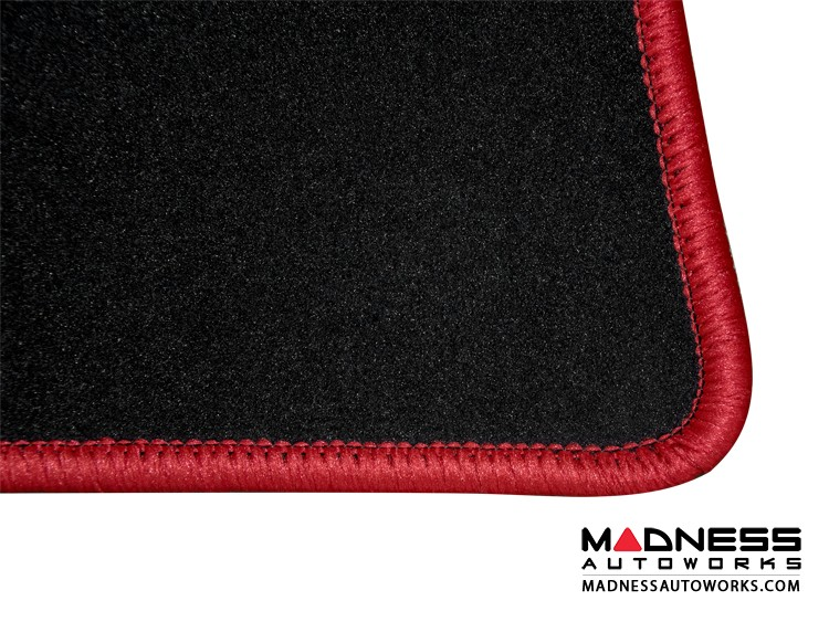 smart fortwo Custom Floor Mats + Cargo Area Mat - 453 model - LUXUS - Red Binding w/ smart silhouette