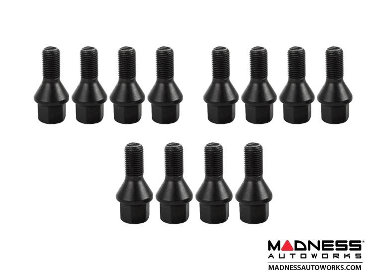 smart fortwo Lug Bolt Set - 451 model - Farad - Set of 12 - M12x1.5 - Ball Seat - Custom Black Finish