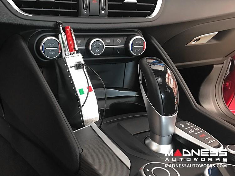 Pochette - Tuxedo Leather w/ White Stitching & Embroidered Italian Flag