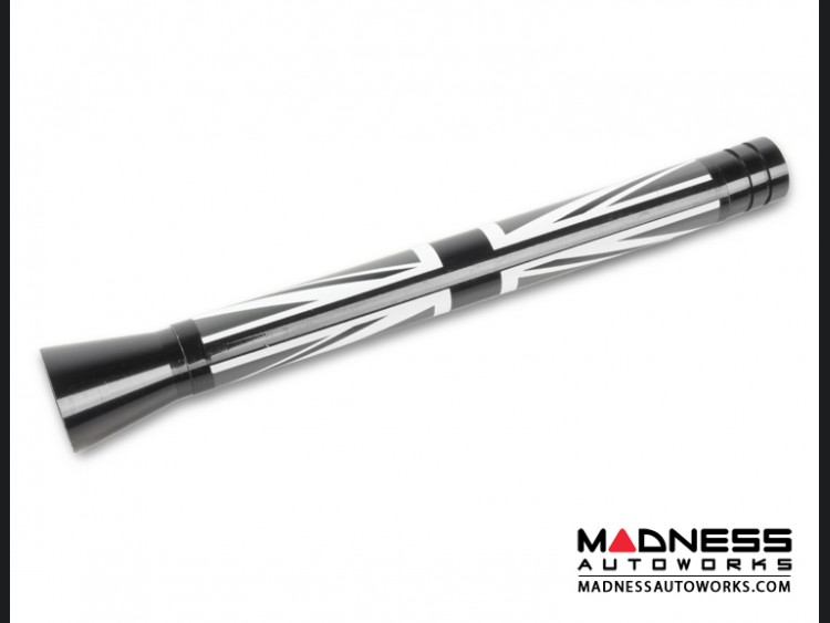 smart fortwo Antenna (Large) - Gloss Black w/ Union Jack Design - B/W  (108mm/ 4.25 inches)