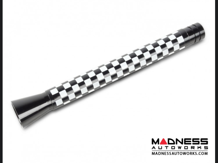smart fortwo Antenna (Large) - Gloss Black w/ Checkered Flag (108mm/ 4.25 inches)