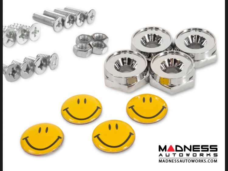 License Plate Fasteners - Happy Face Logo (set of 4)