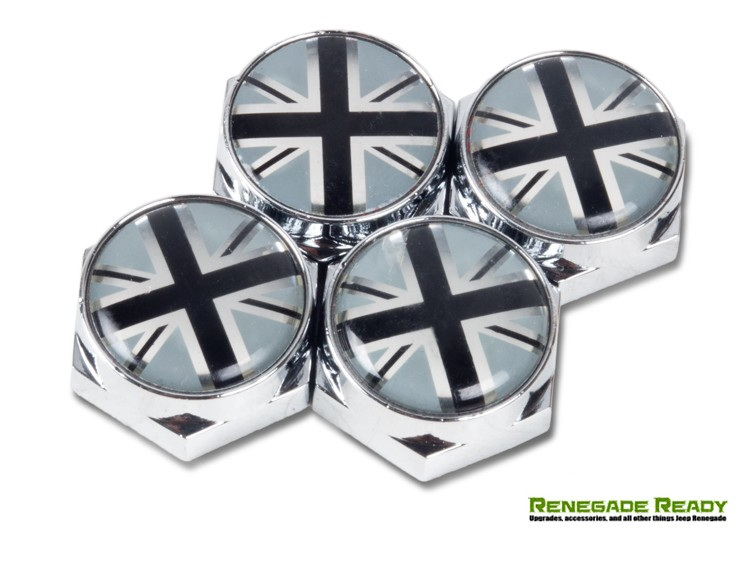 License Plate Fasteners - Union Jack Flag (set of 4) - B/W