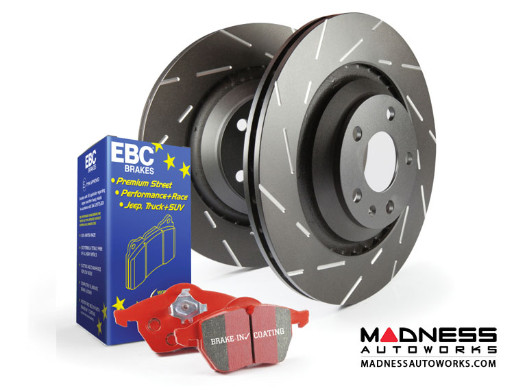 smart fortwo Front Brake Upgrade Kit - 451 model - EBC Redstuff Brake Pads - USR Rotors - Stage 4