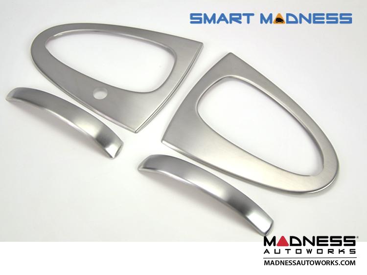 smart fortwo Door Handle + Door Surround Overlay Kit (4pc) - 451 Model - Brushed Stainless Steel