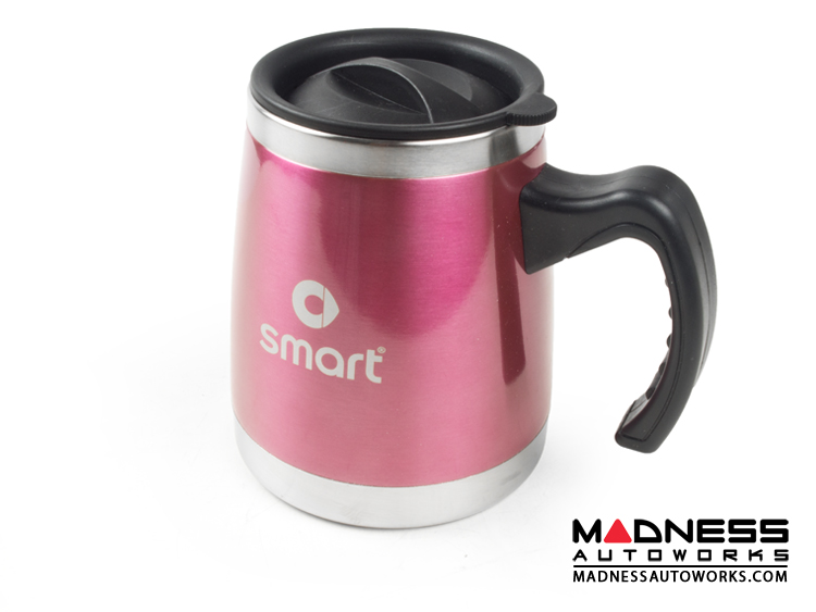 Desk Mug (16oz) - Stainless Steel - smart Logo - Pink Finish