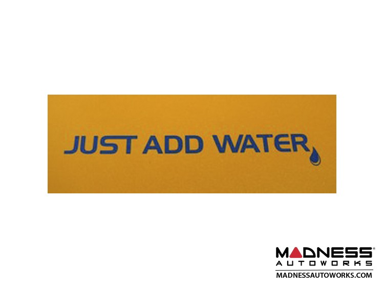 """smart fortwo Decal - """"Just Add Water"""" in Blue"""