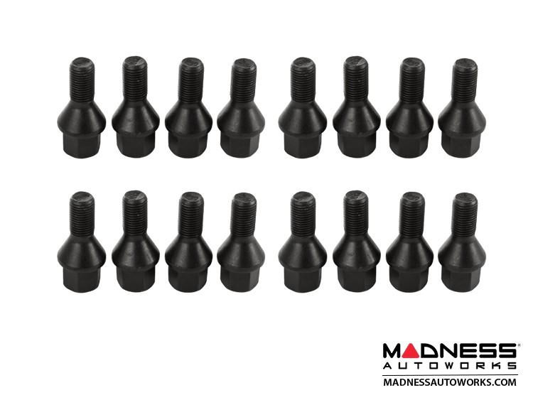 smart fortwo Lug Bolt Set - 453 model - Farad - Set of 16 - M12x1.5 - Ball Seat - Custom Black Finish