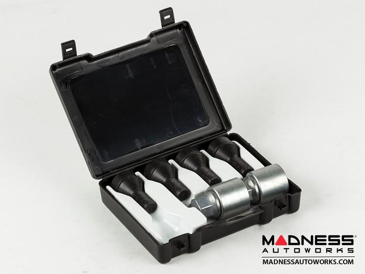 smart fortwo Lug Bolt and Lock Set - 451 model - Farad - Set of 12 - M12x1.5 - Ball Seat - Black