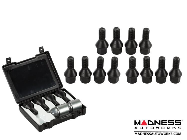 smart fortwo Lug Bolt + Lock Set - 453 model - Farad - Set of 16 - M12x1.5 - Ball Seat - Black