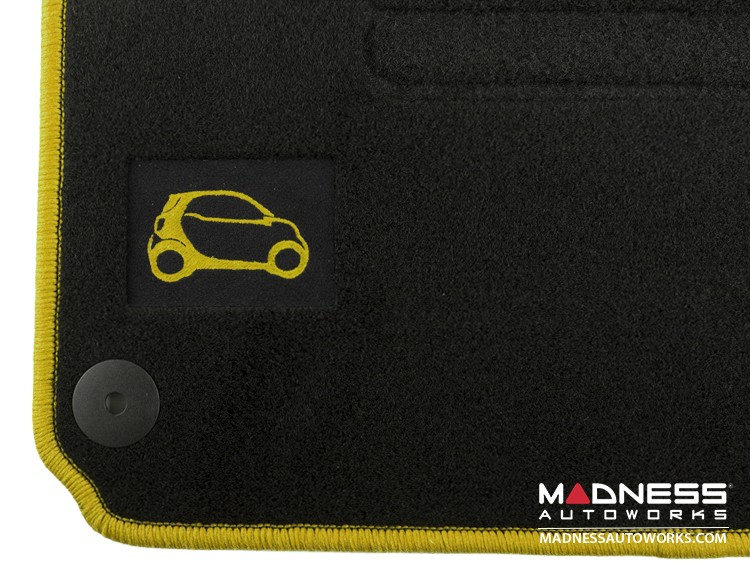 smart fortwo Floor Mats + Cargo Mat Set - 453 model - Carpet with Yellow Binding