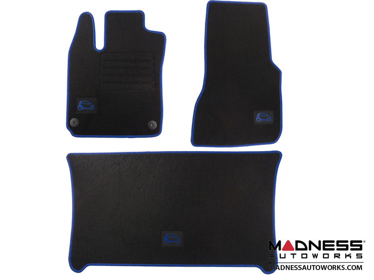 smart fortwo Floor Mats + Cargo Mat Set - 453 model - Carpet with Blue Binding