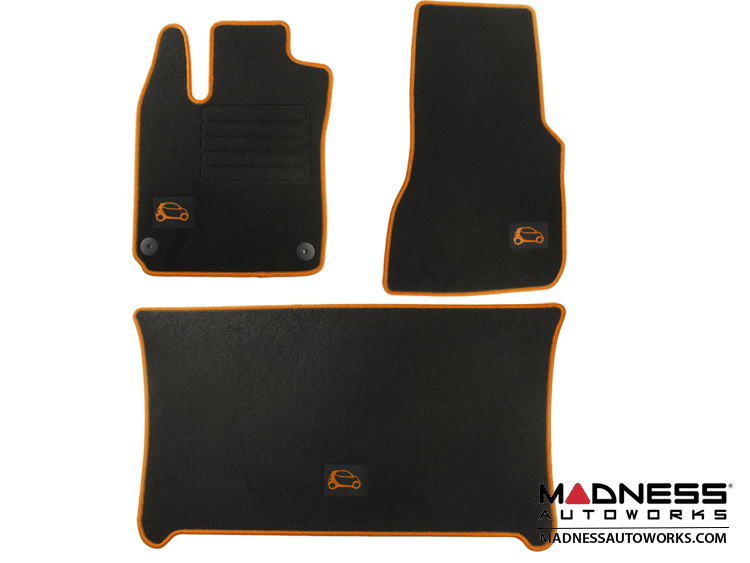 smart fortwo Floor Mats + Cargo Mat Set - 453 model -  Carpet with Orange Binding