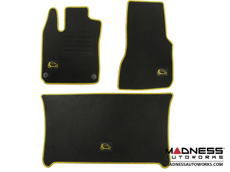 smart fortwo Floor Mats + Cargo Mat Set - 453 model - Carpet with Yellow Binding