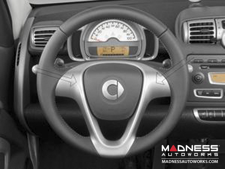smart fortwo Center Steering Wheel Trim Piece - 451 - Silver