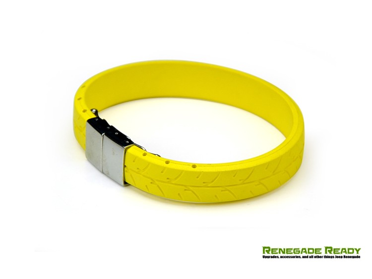 Tire Tread Bracelet - Yellow Rubber w/ Stainless Steel Clasp