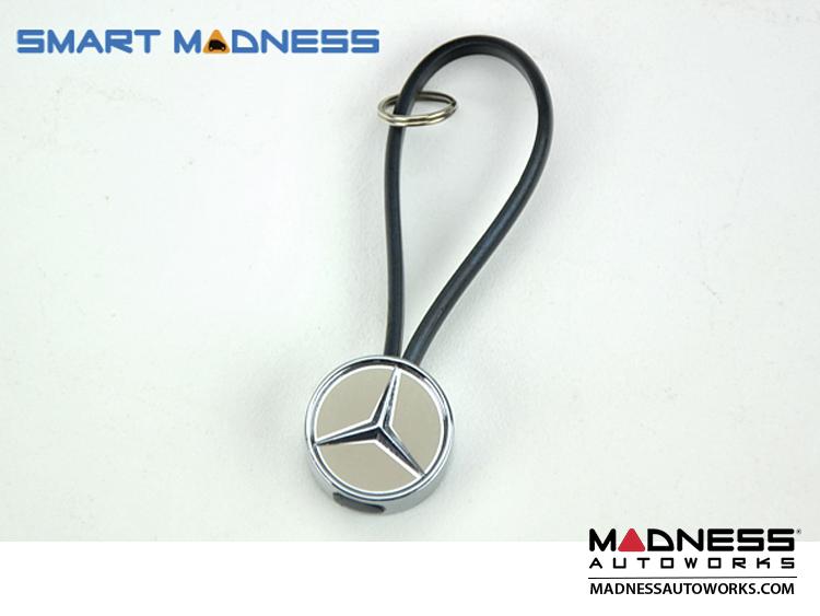 Mercedes Benz Keychain - Black Rubber Band w/ Metal MB Logo