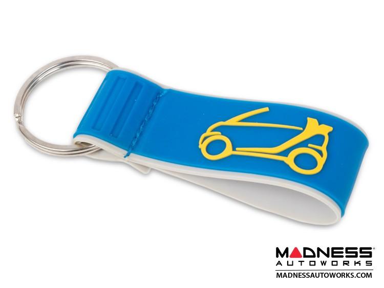 Keychain - smart Cabrio Design in Blue/ Yellow