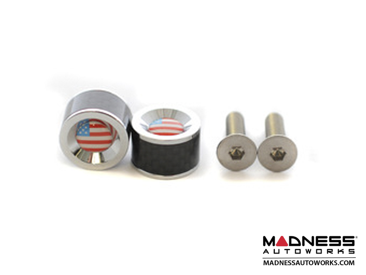 License Plate Fasteners - Carbon Fiber w/ American Flag Emblem (set of 2)