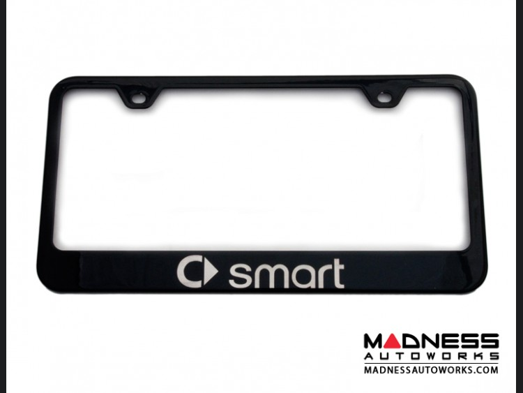 smart fortwo License Plate Frame - Black Stainless Steel Finish