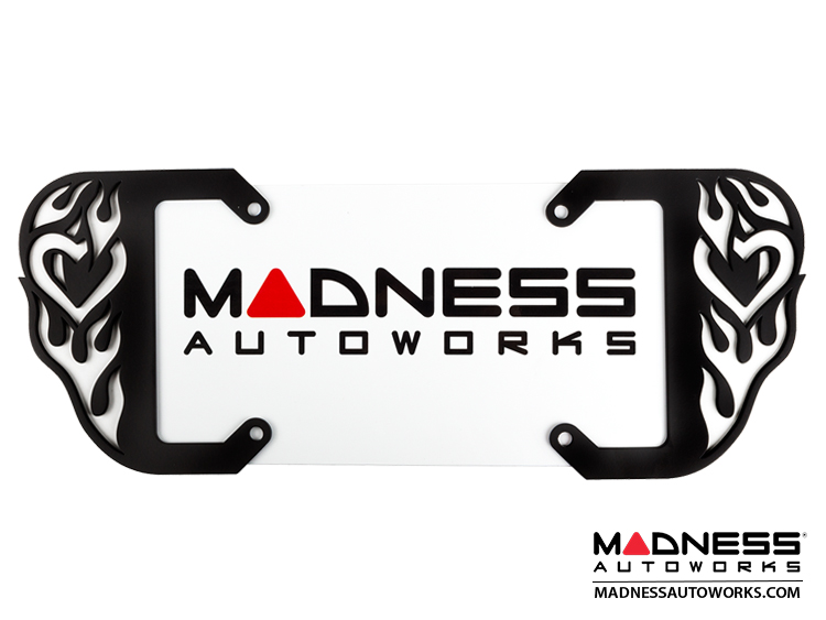 smart fortwo Custom License Plate Frame - Matte Black Finish - Hot Love Design