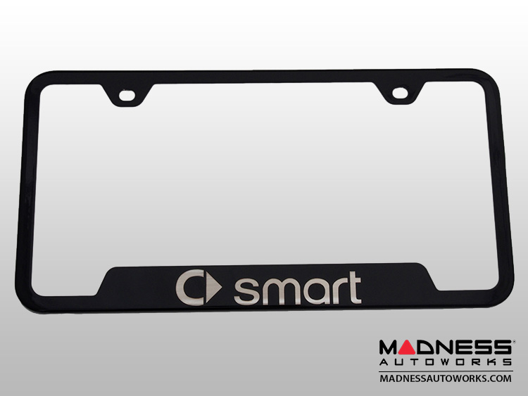 smart fortwo License Plate Frame (w/ Cut Outs for Tags) - Black w/ smart Logo