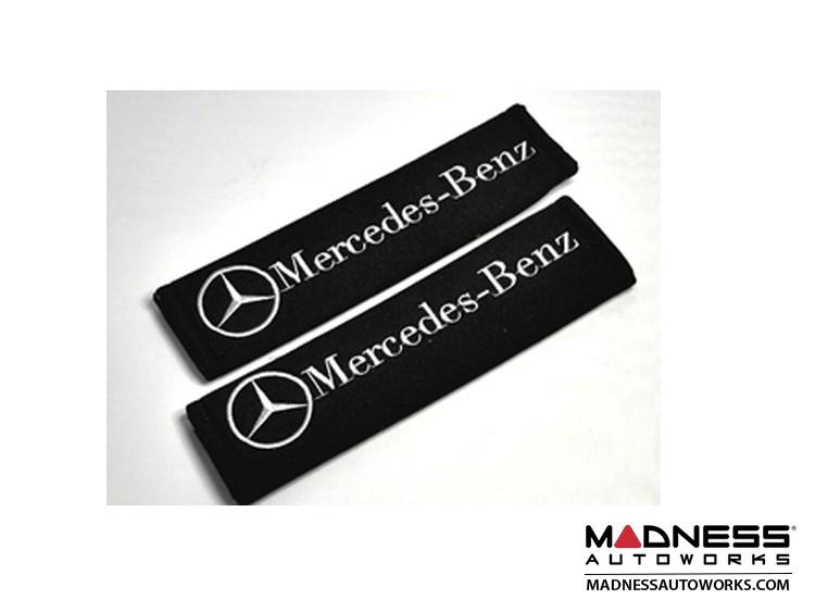 Seat Belt Shoulder Pads - Mercedes Benz Logos - set of 2