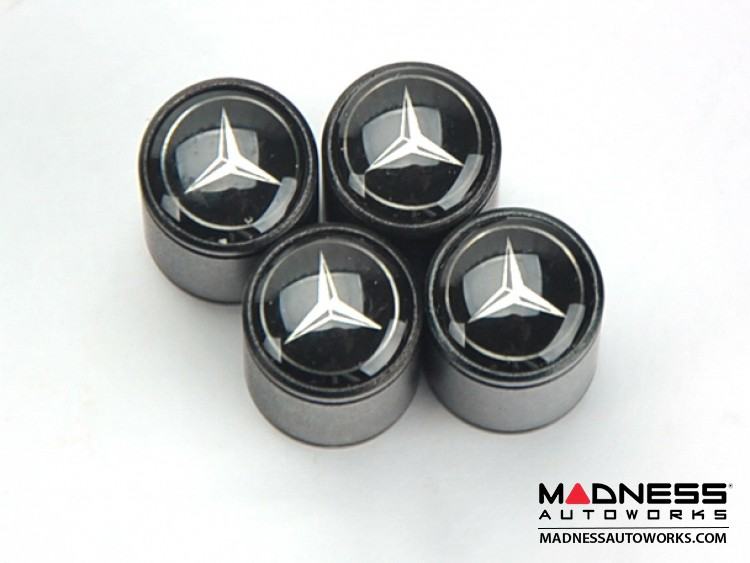 Valve Caps (4) - V6 - Black w/ Mercedes Benz logo