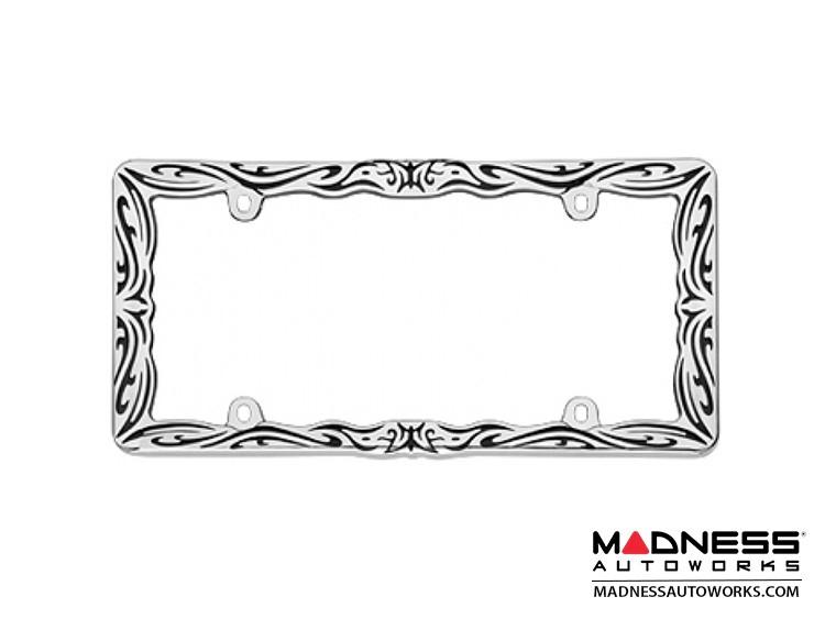 License Plate Frame - Chrome w/ Tribal Design