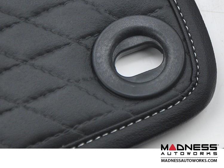 smart fortwo Floor Mats - 451 model - Leather - Black w/ Black Binding