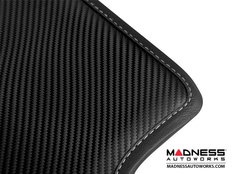 smart fortwo Floor Mats - 451 model - Leather - Carbon Fiber Finish w/ Black Binding