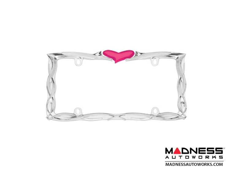 License Plate Frame - Chrome Plate w/ Pink Heart