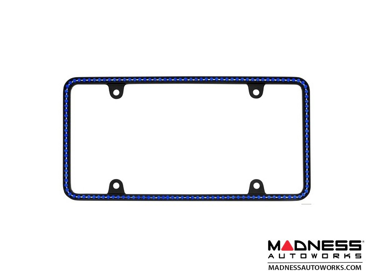License Plate Frame - Black Frame w/ Blue Crystals